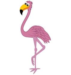 Funny cartoon flamingo vector