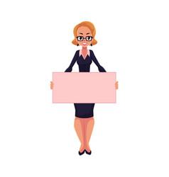 Girl woman businesswoman on strike holding empty vector