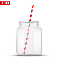 Glass mason jar for cocktail and smoothie vector