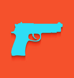 Gun sign whitish icon on vector