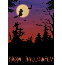 Halloween landscape with witch vector