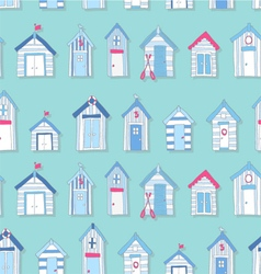 Hand Drawn Beach Huts in a Seamless Pattern vector image