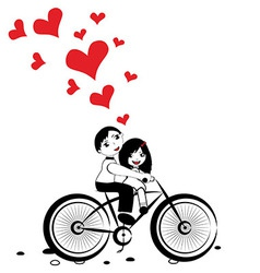 Happy man and woman in love on bicycle vector image