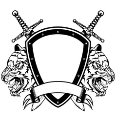 head of tigers board and swords vector image
