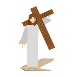 jesus christ carries cross via crucis vector image vector image