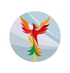 Phoenix rising burning tree circle retro vector
