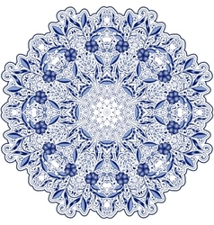 Round blue lace doily mandala with swirls flowers vector