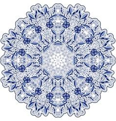 Round blue lace doily mandala with swirls flowers vector image