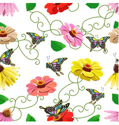 Seamless pattern of flowers and butterflies vector