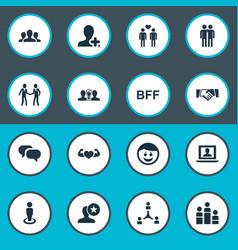 set of simple buddies icons vector image