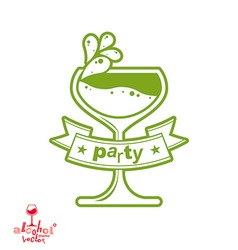 Simple cocktail glass with splash alcohol idea vector