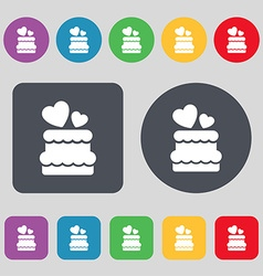 Wedding cake icon sign a set of 12 colored buttons vector