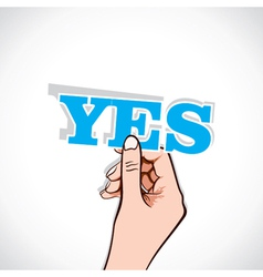 Yes word sticker in hand vector