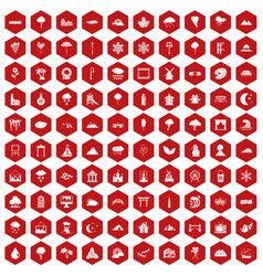100 scenery icons hexagon red vector image