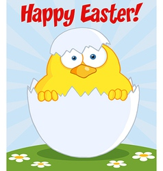 Happy Easter Chick In A Shell On A Hill vector image
