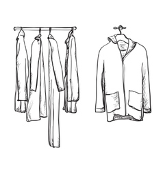 Clothes for autumn Coat and jacket on the hangers vector image