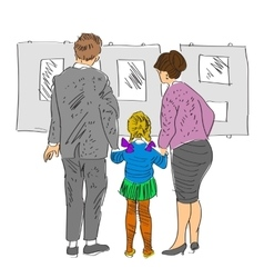 Sketch of family standing in gallery vector