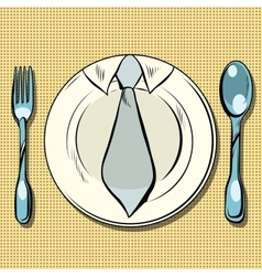 Business lunch dish fork and spoon vector