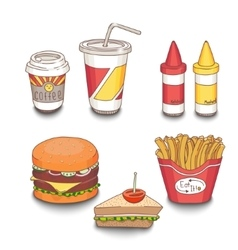 Set of cartoon fast-food meal colored with shadows vector