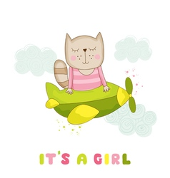 Baby girl cat flying on a plane baby shower card vector