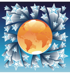 Orange globe and blue stars vector