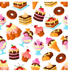 Pastry dessert cakes seamless pattern vector