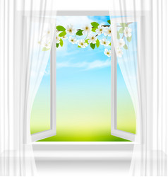 Nature background with open window and spring vector