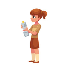 Girl holding plastic bottle waste garbage vector