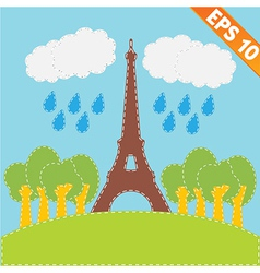 Eiffel tower with stitch style background - vector