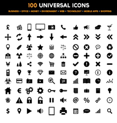 Big set of 100 universal black flat icons vector