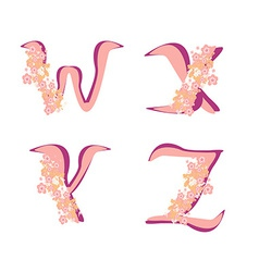 Spring alphabet with flowers letters wxyz vector