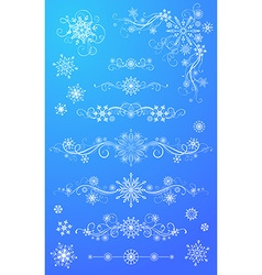 Snowflake page dividers and decorations vector