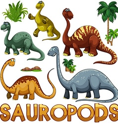 Different color of sauropods vector