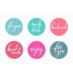 Handmade lettering sticker set vector