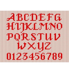 Red knitted alphabet and figures vector image