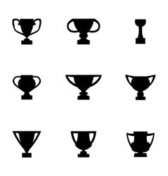 Black trophy icon set vector