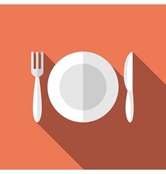Flat plate fork knife vector image