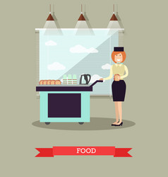 airline food in flat style vector image vector image