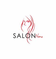 beauty salon line art logo design vector image vector image
