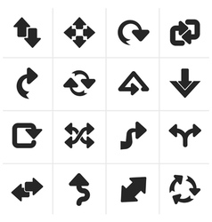 Black different kind of arrows icons vector image