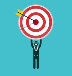 Businessman holding a target with arrow vector