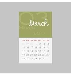 Calendar 2017 months march week starts sunday vector