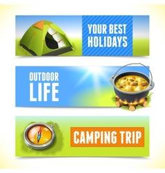 Camping horizontal banners vector
