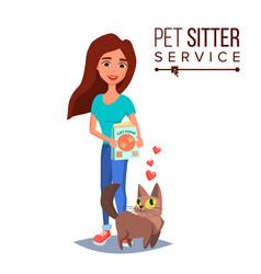 Cat pet sitter cat sitter walking pet vector