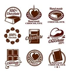 Chocolate logos emblems and badges vector