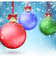 Christmas Balls and Blur Xmas Baubles vector image