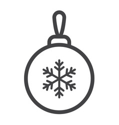 christmas tree ball line icon new year christmas vector image