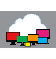 Cloud with PC vector image vector image