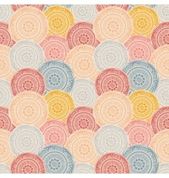 Colorful patterned circles seamless background vector