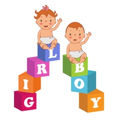 Cute baby boy and baby girl with children bricks vector
